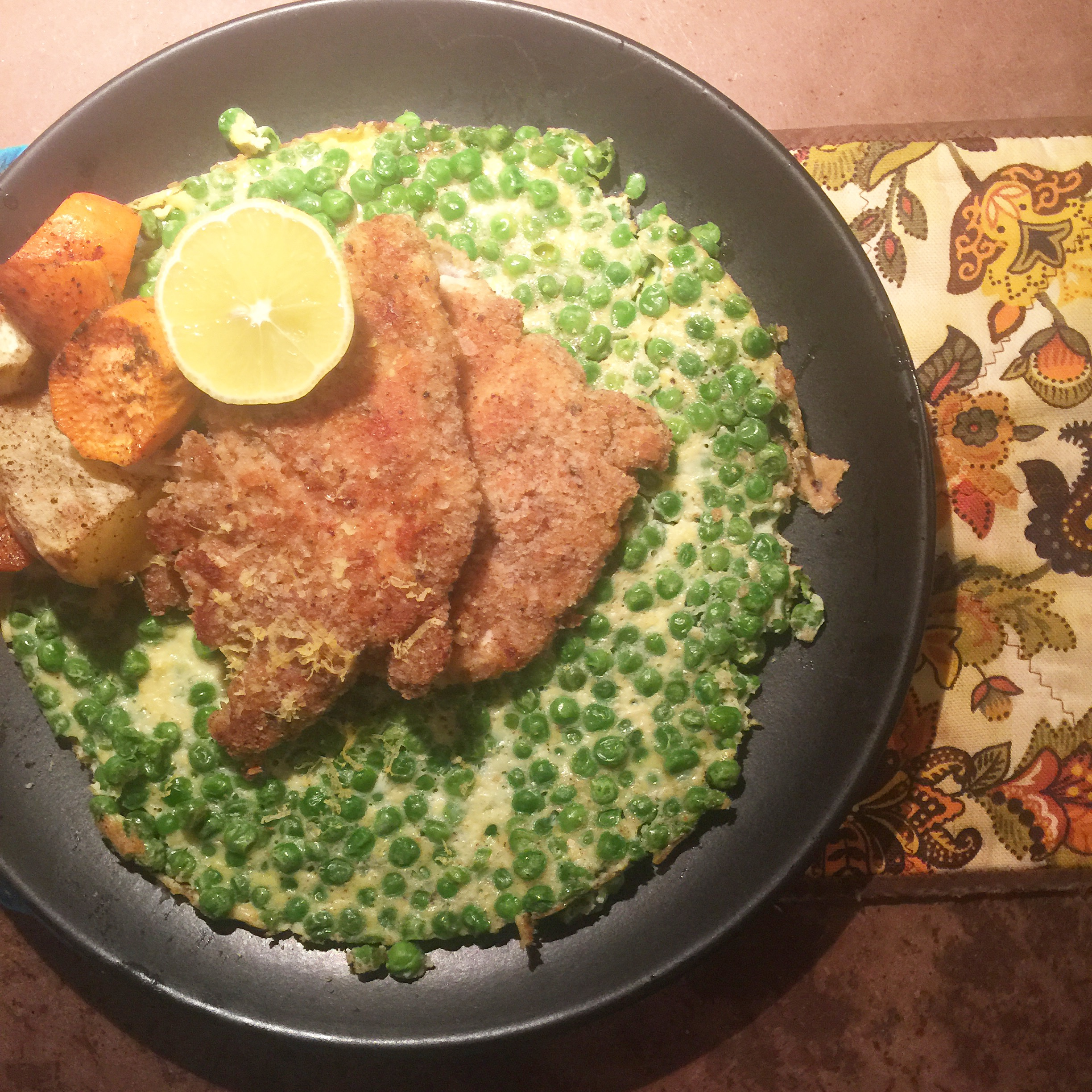 Crispy Chicken with roasted sweet potato yam / frittata with peas and garlic with fresh squeezed lemon juice